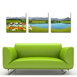Beautiful Lake and Pretty Flowers Film Art Wall Prints