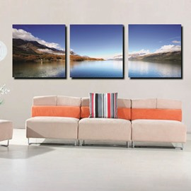 Beautiful Lake Beside Mountain and Blue Sky Film Art Wall Prints