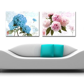 Blue and Pink Blooming Flowers Film Art Wall Print