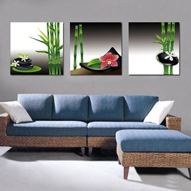 Elegant Bamboo and Adorable Flowers Film Art Wall Print