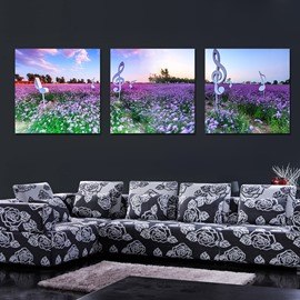 Beautiful Lavender 3-Pieces of Crystal Film Art Wall Print