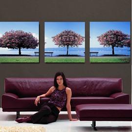 Beautiful Flower Tree 3-Pieces of Crystal Film Art Wall Print