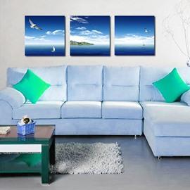 Beautiful Blue Sea 3-Pieces of Crystal Film Art Wall Print