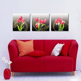 Beautiful Tulips 3-Pieces of Crystal Film Art Wall Print