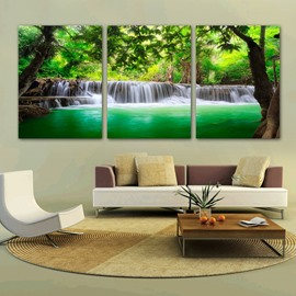16×24in×3 Panels Green Trees and Waterfall Hanging Canvas Waterproof and Eco-friendly Framed Prints