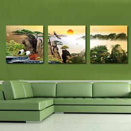 Fantastic Sunrise 3-Pieces of Crystal Film Art Wall Print