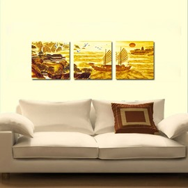 Pretty Chinese Style  3-Pieces of Crystal Film Art Wall Print