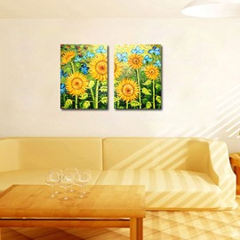 Beautiful Sunflower 2-Pieces of Crystal Film Art Wall Print