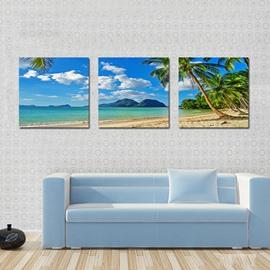 Beautiful Coastal Beach 3-Piece of Crystal Framed Canvas Prints Wall Print