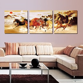 New Running Horse 3-Pieces of Crystal Film Art Wall Print