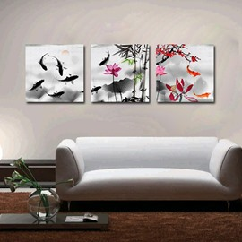 Chinese Style Pretty 3-Pieces of Crystal Film Art Wall Print