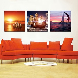 Pretty Sailing Boat 3-Pieces of Crystal Film Art Wall Print