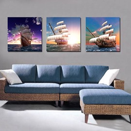 Sailing Boat with Sun 3-Pieces of Crystal Film Art Wall Print
