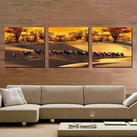 High Quality Camel 3-Pieces of Crystal Film Art Wall Print