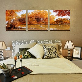 Beautiful Autumn Lake 3-Pieces of Crystal Film Art Wall Print
