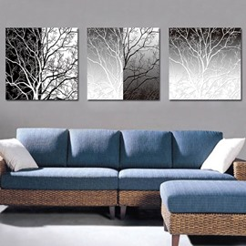 Classic White and Black Tree 3-Piece Crystal Film Art Wall Print