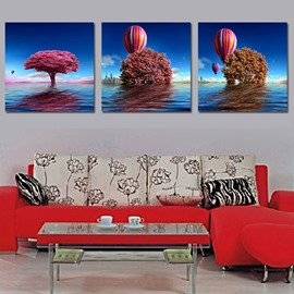 Flower Tree in the Sea 3-Piece Crystal Film Art Wall Print