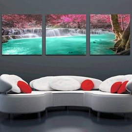 16×16in×3 Panels Green Waterfall and Trees Hanging Canvas Waterproof and Eco-friendly Framed Prints