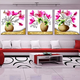Butterfly with Flowers 3-Piece Crystal Film Art Wall Print