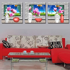 Pink Flowers with Red Vase 3-Piece Crystal Film Art Wall Print