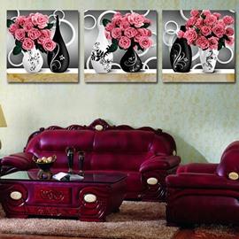 Beautiful Pink Roses 3-Piece Crystal Film Art Wall Print
