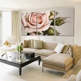 Elegant Pink Rose 3-Piece Crystal Film Art Wall Print