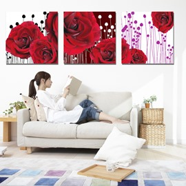 Amazing Graceful Roses 3-Piece Crystal Film Art Wall Print