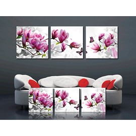 Spring Scenery Magnolia Flowers and Butterfly 3-Piece Crystal Film Art Wall Print