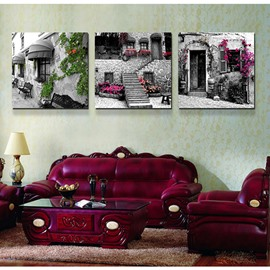 Old Movie Style Town Street 3-Piece Crystal Film Art Wall Print