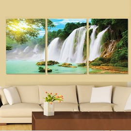 Natural Scenery Waterfall 3-Piece Cross Film Wall Art Prints