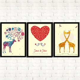 Wonderful Love Cartoon Animal 3-Panel Framed Wall Art Prints