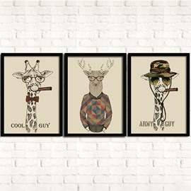Creative Cartoon Character Mr. Cool Guy and Army Guy 3-Panel Framed Wall Art Prints