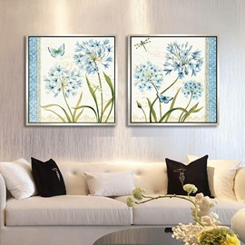 16×16in×2 Panels Blue Flowers Hanging Canvas Waterproof and Eco-friendly Framed Prints