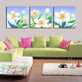 Beautiful White Floral Pattern 3-Panel Canvas Wall Art Prints