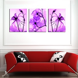 Gorgeous Purple Flowers Artwork 3-Panel Canvas Wall Art Prints