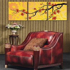 Gorgeous Branch of Plum Flowers Canvas 3-Panel Wall Art Prints