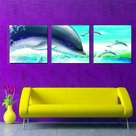 Wonderful Dolphins Bedroom Nursery Canvas 3-Panel Wall Art Prints