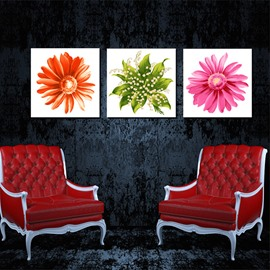 Gorgeous Flower Petal Close-Up Canvas 3-Panel Wall Art Prints