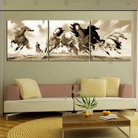 20×20in×3 Panels Running Horses Hanging Canvas Waterproof and Eco-friendly Framed Prints