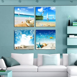 Blue Seaside Scenery and Blue Sky Canvas 4-Panel Wall Art Prints