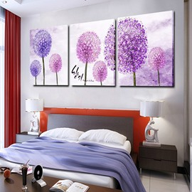 Romantic Purple Dandelion 3-Panel Canvas Wall Art Prints