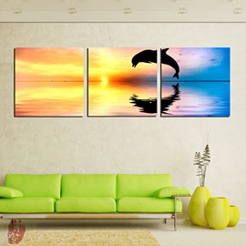 Creative Dolphin Profile on the Sea in Sunset 3-Panel Canvas Wall Art Prints