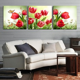 Beautiful Red Tulip Bunch 3-Panel Canvas Wall Art Prints