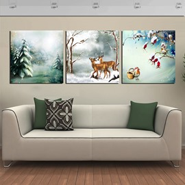 Festival Snowy Forest and Deer 3-Panel Canvas Wall Art Prints