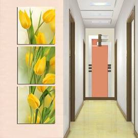 Beautiful Tulips Pattern Entrance 3-Panel Canvas Wall Art Prints