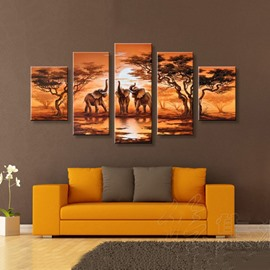 Elephants in Forest and Sunrise Hanging Canvas Waterproof and Eco-friendly 5- Piece Framed Prints