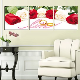 Romantic Red and White Roses Love of Rings 3-Panel Canvas Wall Art Prints