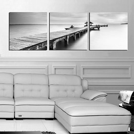 Unique Quiet Lake and Wood Bridge 3-Panel Black and White Canvas Art Prints