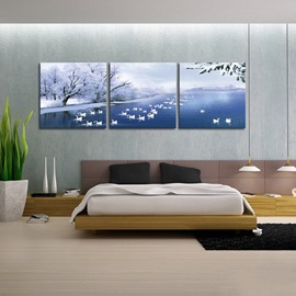 Picturesque Winter Snowing Frozen Lake and Swans 3-Panel Framed Wall Art Prints