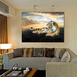 20×28in Lying Tiger in Lawn Hanging Canvas Waterproof and Eco-friendly Framed Prints